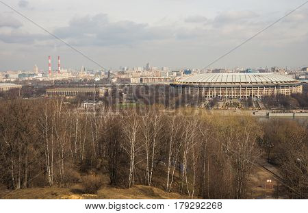 View Of The Luzhniki From Sparrow Hills, Moscow, Russia