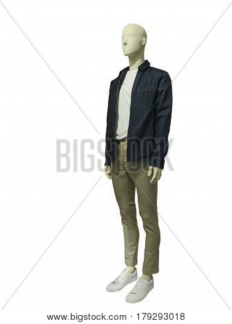 Full length male mannequin dressed in jeans jacket and trousers isolated on white background. No brand names or copyright objects.