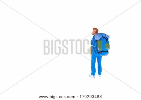 Close Up Of Miniature Backpacker And Tourist People Isolate On White Background. Elegant Design With