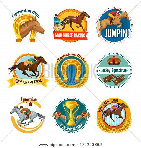 Colorful equestrian sport labels and logos with horses riders cup horseshoe and jockey equipment isolated vector illustration