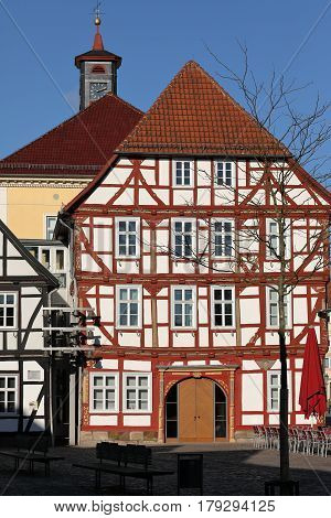 A Historic half timbered houses in Germany