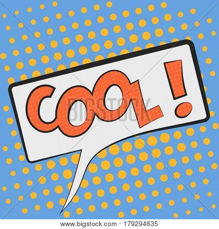 Cool Comic Book Bubble Text on a dots pattern background in Pop-Art Retro Style