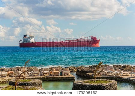 argo freight ship in the caribbean sea. Freight Transportation. Mexico territory