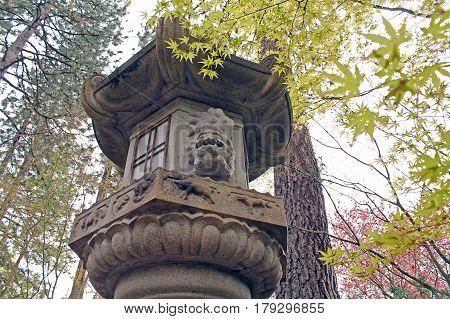 Stone Lantern Pagoda in a Japanese Garden