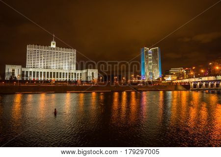 Picturesque Night View Of  Moscow  Across The River Moscow With Reflection In Water,