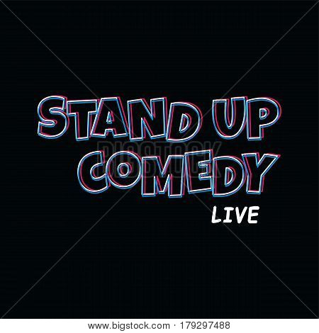 stand up comedy text cartoon theme vector art illustration