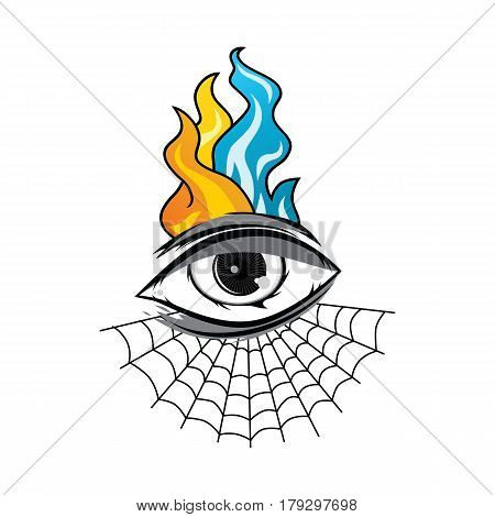 Angry Eye With Spiderweb Tattoo Cartoon Theme Vector Art