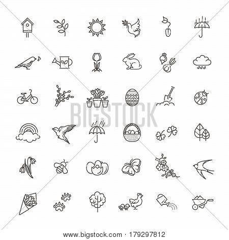 vector set of outline icons spring. Springtime