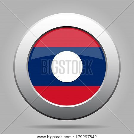 National flag of Laos. Shiny metal gray round button with shadow.