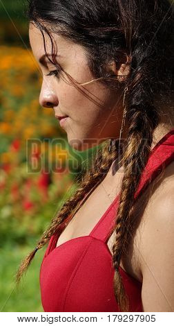 Sad Or Serious Girl with Long Braided Hair