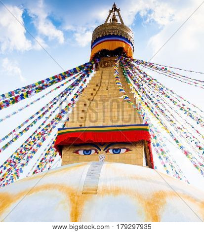 The Boudhanath Stupa in Kathmandu valley, Nepal