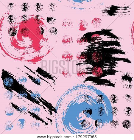 Vector seamless pattern with brush dots, strokes, circles and strokes. Black, red, blue color on pink background. Hand painted grange texture. Ink geometric elements. Fashion modern style. Fabric