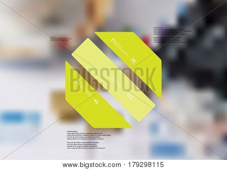 Illustration infographic template with motif of octagon askew divided to three standalone green sections. Blurred photo with financial motif with charts coins and calculator is used as background.