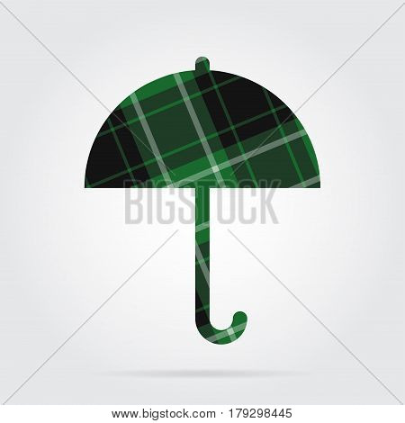 green black isolated tartan icon with white stripes - umbrella and shadow in front of a gray background