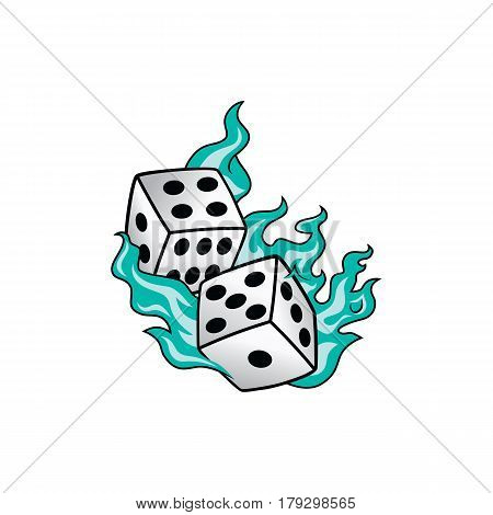 Flaming On Fire Burning White Dice Risk Taker Gamble Vector Art