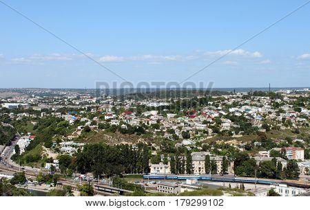 Nice view of Sevastopol with railway, Crimea, Ukraine