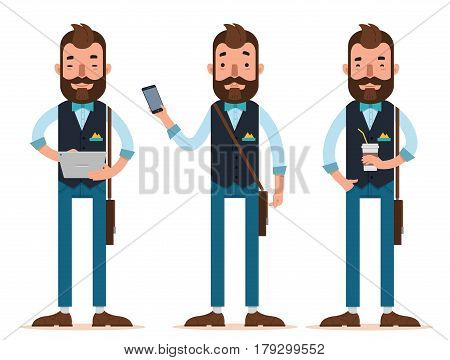 Businessman characters. Three different poses. Man stands with digital tablet, man with phone, man with glass of coffee. Vector