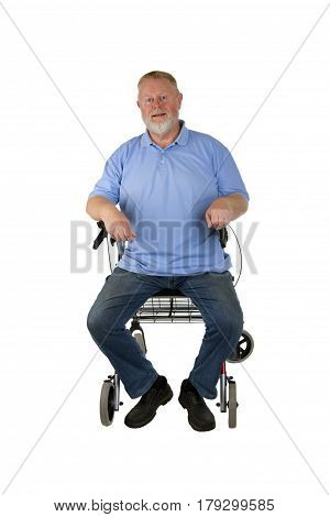 Male Senior with rollator isolated on white background