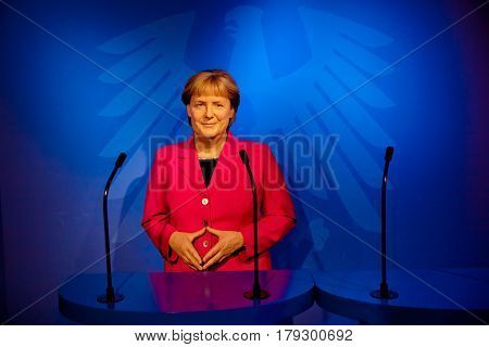 Amsterdam, Netherlands - March, 2017: Wax figure of Angela Merkel in Madame Tussauds Wax museum in Amsterdam, Netherlands