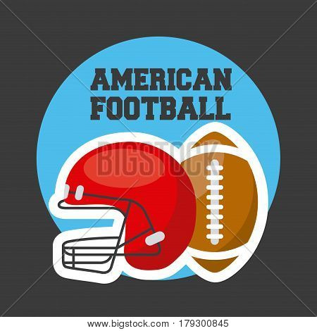 emblem of american football sport with helment and ball icon over white background. colorful design. vector illustration