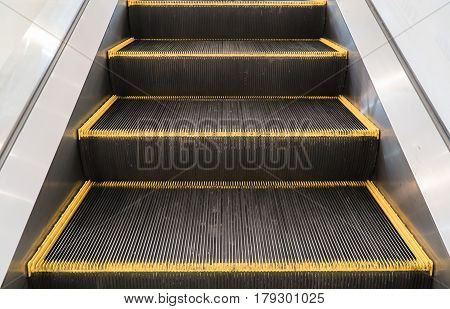 The Close up escalator in subway.perspective escalator