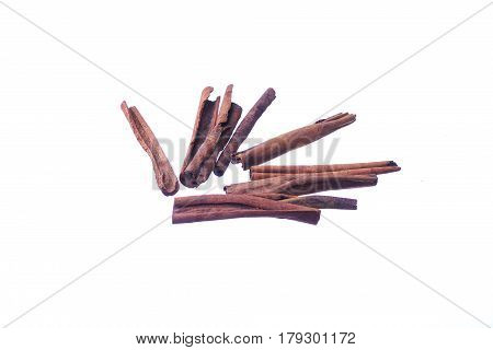 Cinnamon Sticks Isolated On White Background. Kulit Kayu Manis.