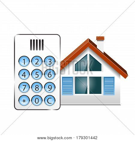 Vector illustration of a Intercom doorphone and at house
