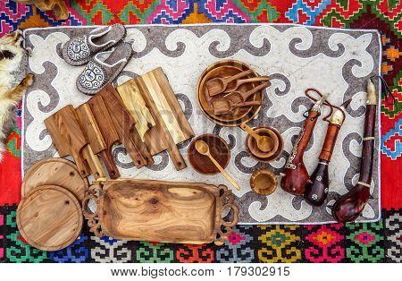 Kazakh ethnic souvenirs on street market in Almaty Kazakhstan