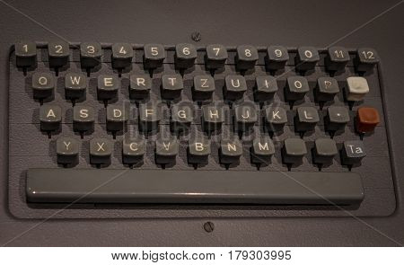 The Old And Vintage Keyboard Of A Control Panel