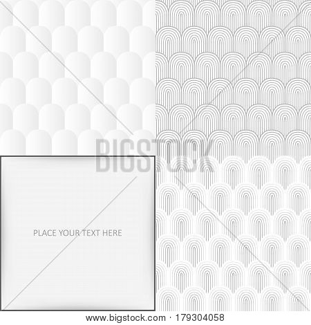 Grey white seamless background set vector illustration