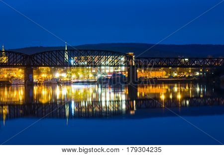 The Night Landscape On The River In Hamelin,germany