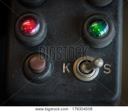 The Old And Vintage Switch Of A Machine .