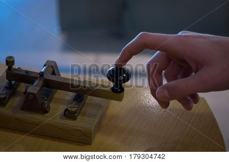 The Old And Vintage Telegraph Key And Operator's Hand , Morse System