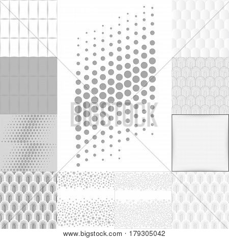 Grey white abstract background set vector illustration