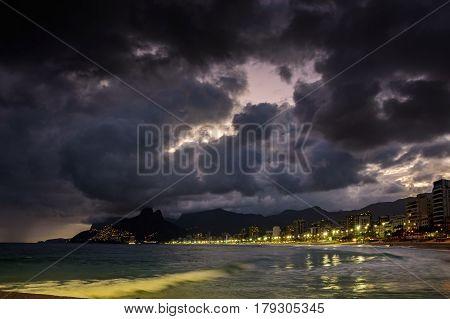 Night on the beaches of Arpoador Ipanema and Leblon in Rio de Janeiro