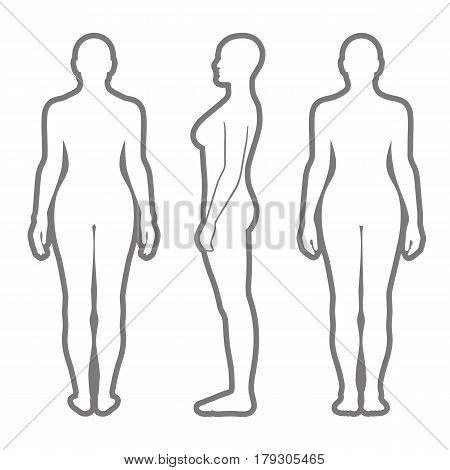 Full length front back side view of a lean standing naked woman silhouette isolated on white background. Vector illustration. You can use this image for fashion design and etc.