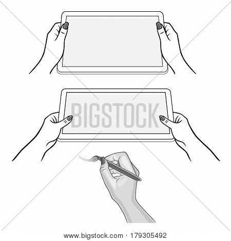 Woman's hands keeps tablet device and hand with the stylus draws a brush sketch; isolated on white background