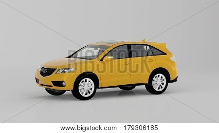 Generic Yellow Suv Car Isolated On White Background, Front View