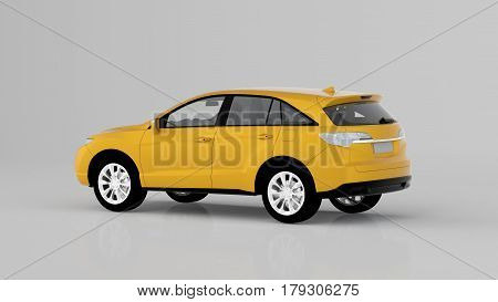 Generic Yellow Suv Car Isolated On White Background, Back View