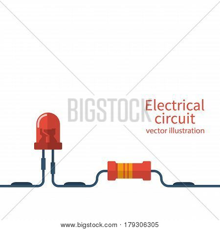 Electrical circuit template. Electronics repair, service center, workshop banner. Red LED and resistor connected to the circuit. Vector illustration flat design. Isolated on white background.