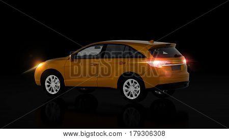 Generic Orange Suv Car On Black Background, Back View