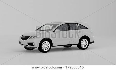 Generic White Suv Car Isolated On White Background, Front View
