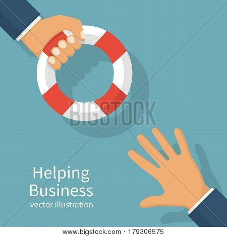 Helping Business concept. Businessman holding a lifebuoy in hand. To give help to the drowning man, metaphor. Vector illustration flat design. Isolated on white background.