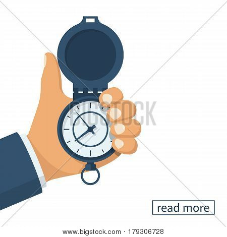 Pocket watch in the hands of men. Time Manager concept, control. Vector illustration flat design. Isolated on white background. Vintage classic clock. Organization of the process.