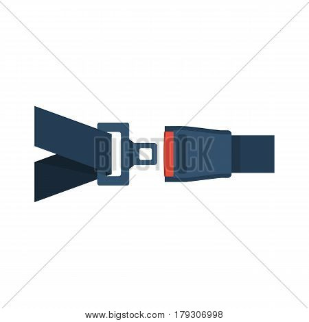 Seat Belt icon isolated on white background. Safety of movement on car, airplane. Vector illustration flat design. Protection driver and passengers. Fastened buckle symbol.