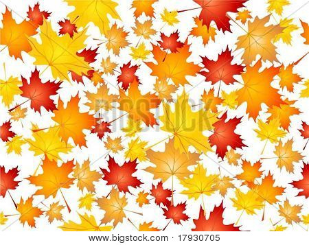 Seamless tile background of falling Autumn leaves