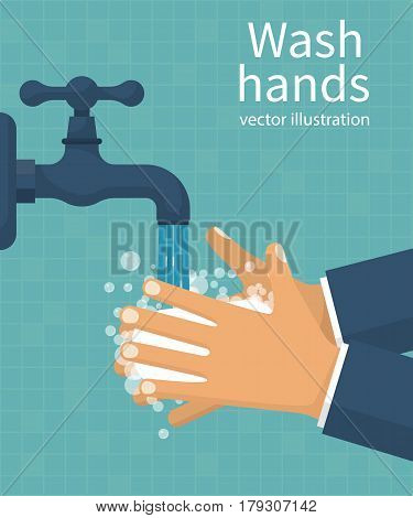Wash hands. Man holding soap in hand under water tap. Arm in foam soap bubbles. Vector illustration flat design isolated on background. Personal hygiene. Disinfection, skin care. Antibacterial washing