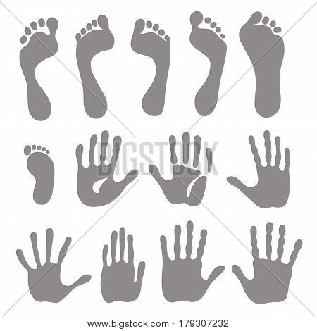 Vector illustration generation grey hand and foot prints isolated on white background
