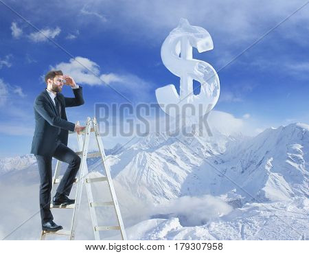 Businessman looking into the distance while climbing ladder on winter landscape background with abstract dollar sign. Weath concept