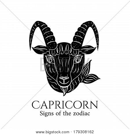Signs of the zodiac. Capricorn hand draw. Black silhouette and white details. Vector illustration isolated on a white background.